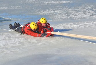 EMS team trains with ice rescue device