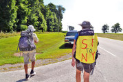 Couple walking across United States