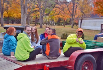 Volunteers set up for Upper's Winter Fantasy of Lights at Harrison Smith