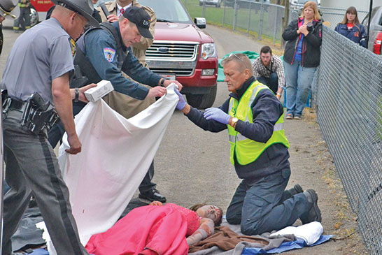 Agencies present mock auto crash
