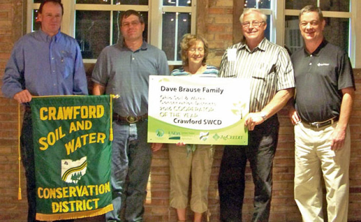 Brause family wins Crawford SWCD cooperator of the year award for 2016