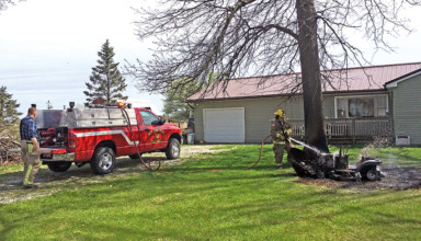Mower fire